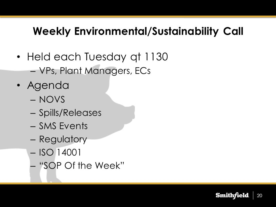 PMs in SAP Prior top SAP, PMs were in Tab Ware Included – Air Pollution Control Equipment for Title V Compliance – Weekly/Monthly Inspections for SWPPP and SPCC compliance – WW Equipment Quick transition to SAP resulted in these items not being programmed into SAP Ongoing effort to migrate these items and more into SAP 21