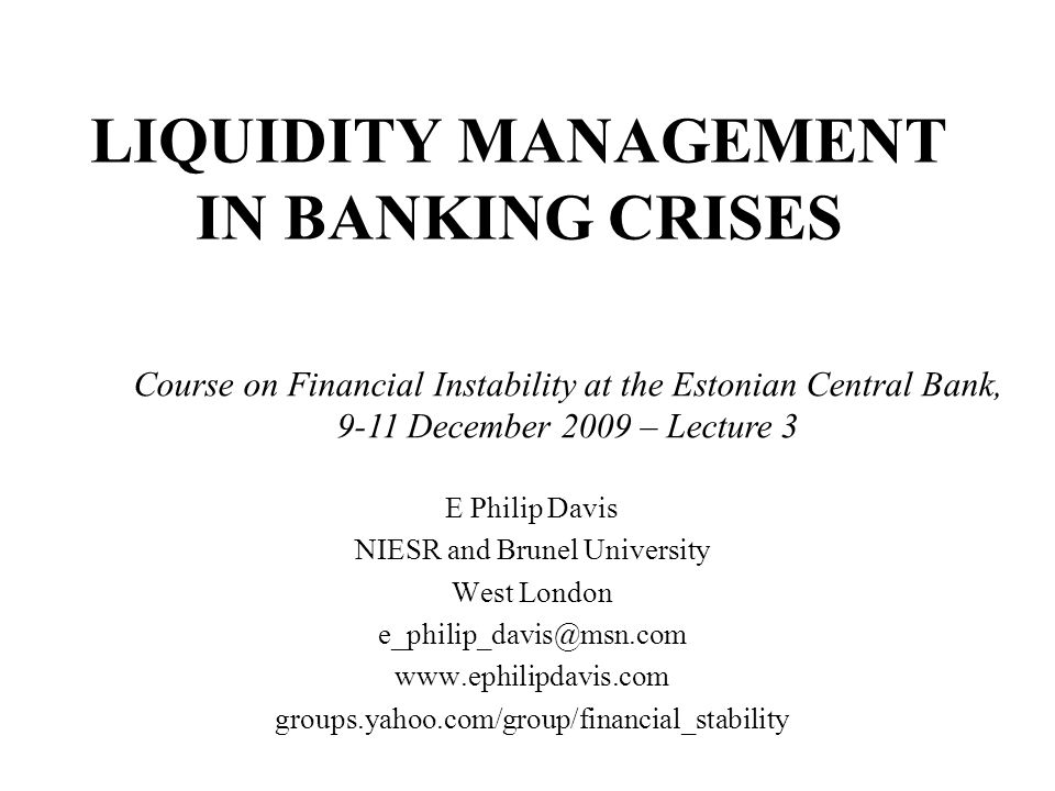 Introduction The nature of banking means that solvent banks may at times be subject to panic runs and consequent illiquidity The first line of defence is sound bank liquidity policy, which should be encouraged by regulation Lender of last resort is a means to deal with liquidity crises, at a possible cost in terms of risk taking incentives We deal with the nature of the problem, outline features of lender of last resort in normal times and crises, and give examples from history