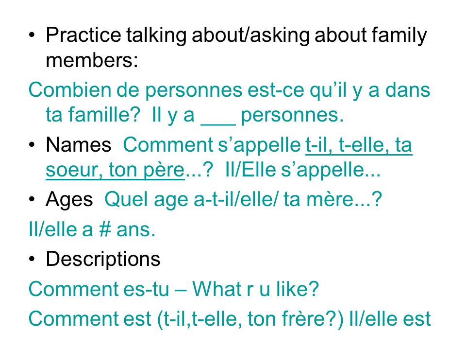 Practice talking about and asking about making plans: tu vas = je vais Qu'est-ce que tu vas faire.