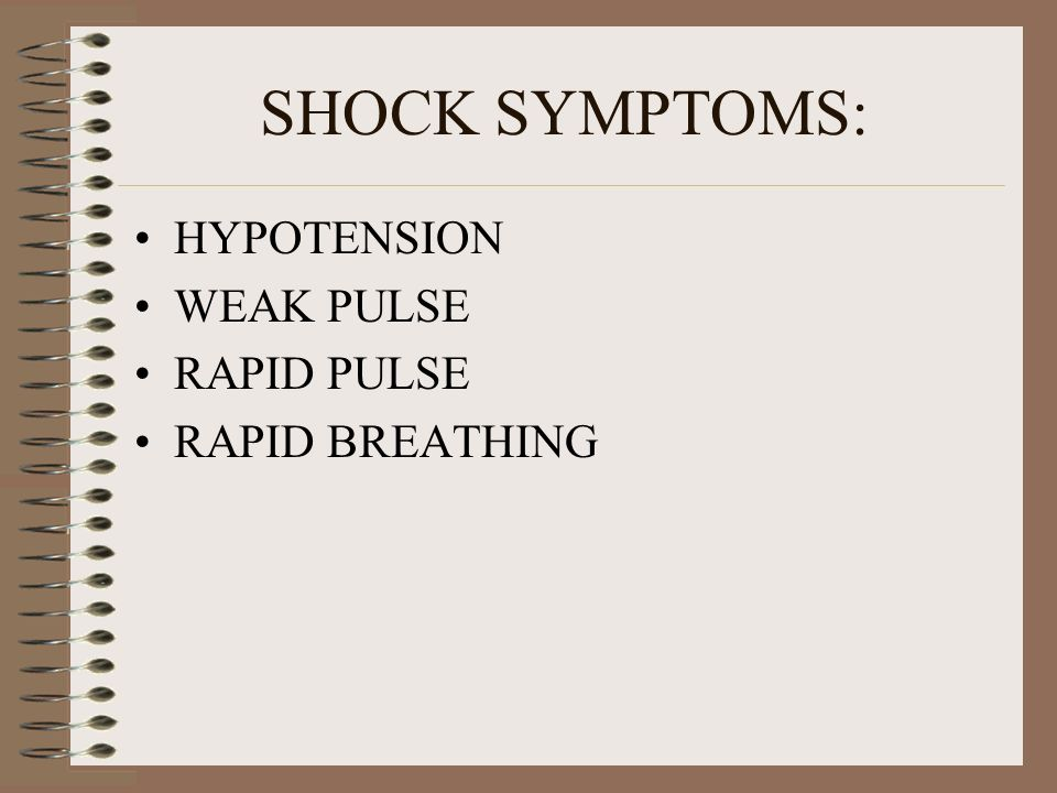 SHOCK HYPOVOLEMIC SEPTIC CARDIOGENIC NEUROGENIC ANAPHYLACTIC – MOST COMMON IN CT