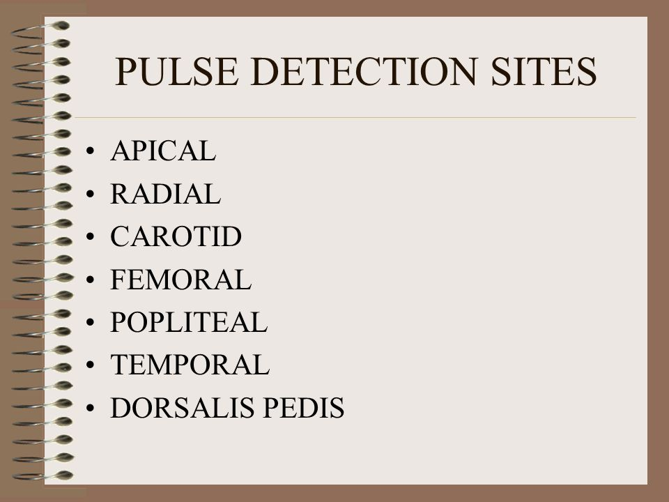 AVERAGE PULSE RATE IN ADULT MAN OR WOMAN - 60-90 BEATS/MIN CHILD 4-10 YEARS - 90-100 BEATS/MIN INFANT - 120 BEATS/MIN