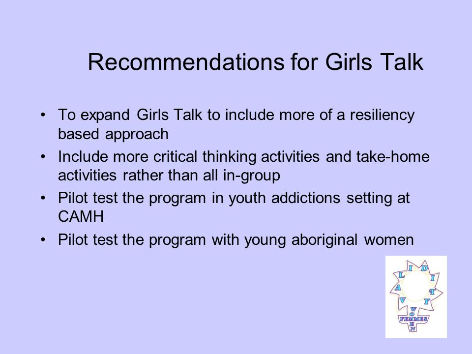 Objectives of Poster Encourage young women and service providers to consider their/girls health from a holistic standpoint Raise awareness with service providers about the fact that various factors impact young womens health Encourage young women to talk to service providers about whats going on in their lives