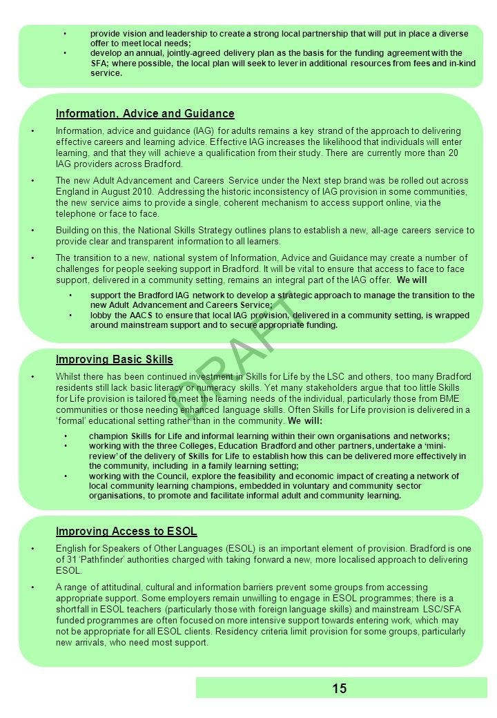 DRAFT 16 Objective 4: Reducing Worklessness Section 2 and the Appendices highlight the significant impact of economic inactivity, or worklessness, on Bradfords economy and communities.