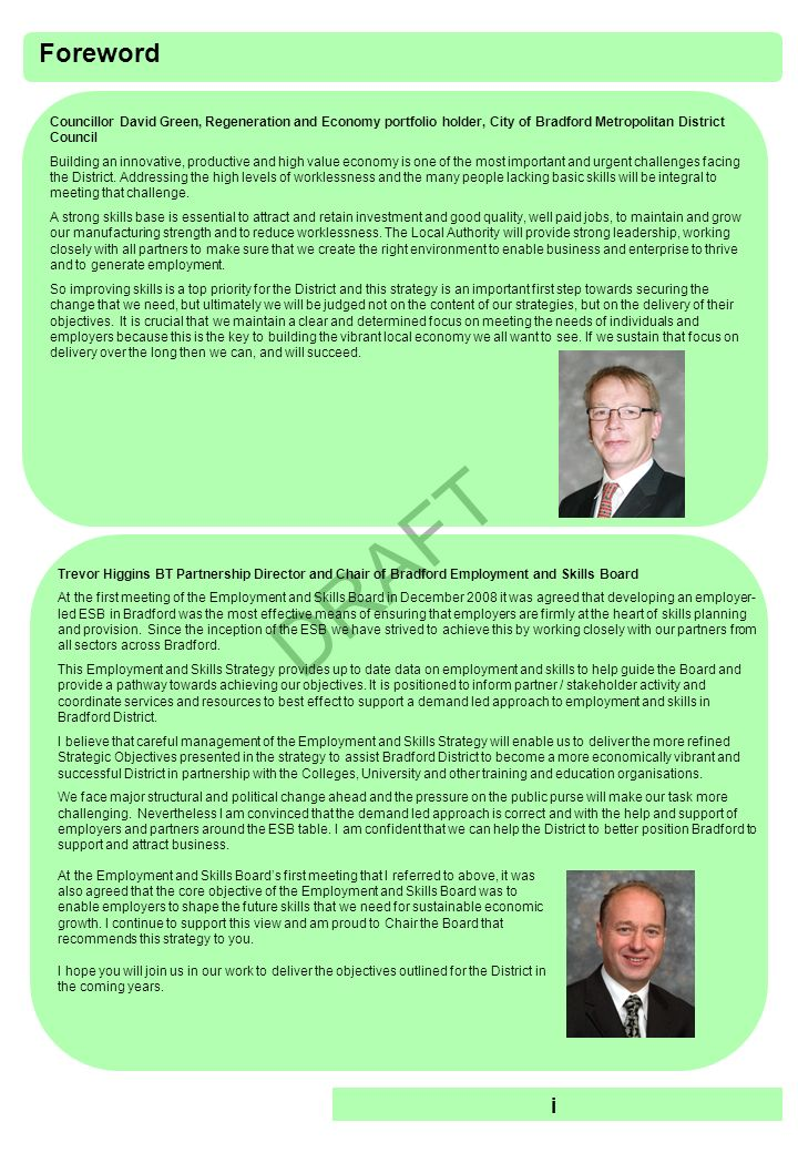 DRAFT Executive Summary This is Bradfords Employment and Skills Strategy (ESS).