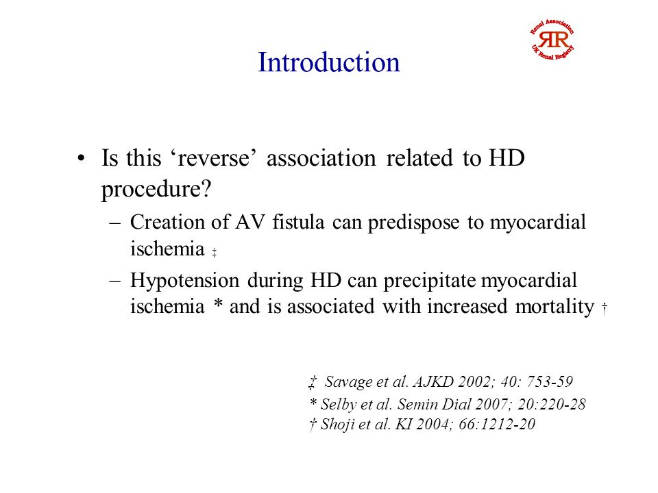 Introduction Previous studies in peritoneal dialysis (PD) patients – inconsistent results due to small sample size or short follow up Low BP associated with lower mortality in kidney transplant recipients Association of BP and survival amongst dialysis patients awaiting transplantation is not known Rumyantazev et al.