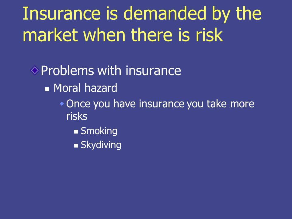 Insurance is demanded by the market when there is risk Problems with insurance Moral hazard You seek more care because its already paid You can view this as a decrease in price of medical care But you also have a decrease in income because of the premium you paid