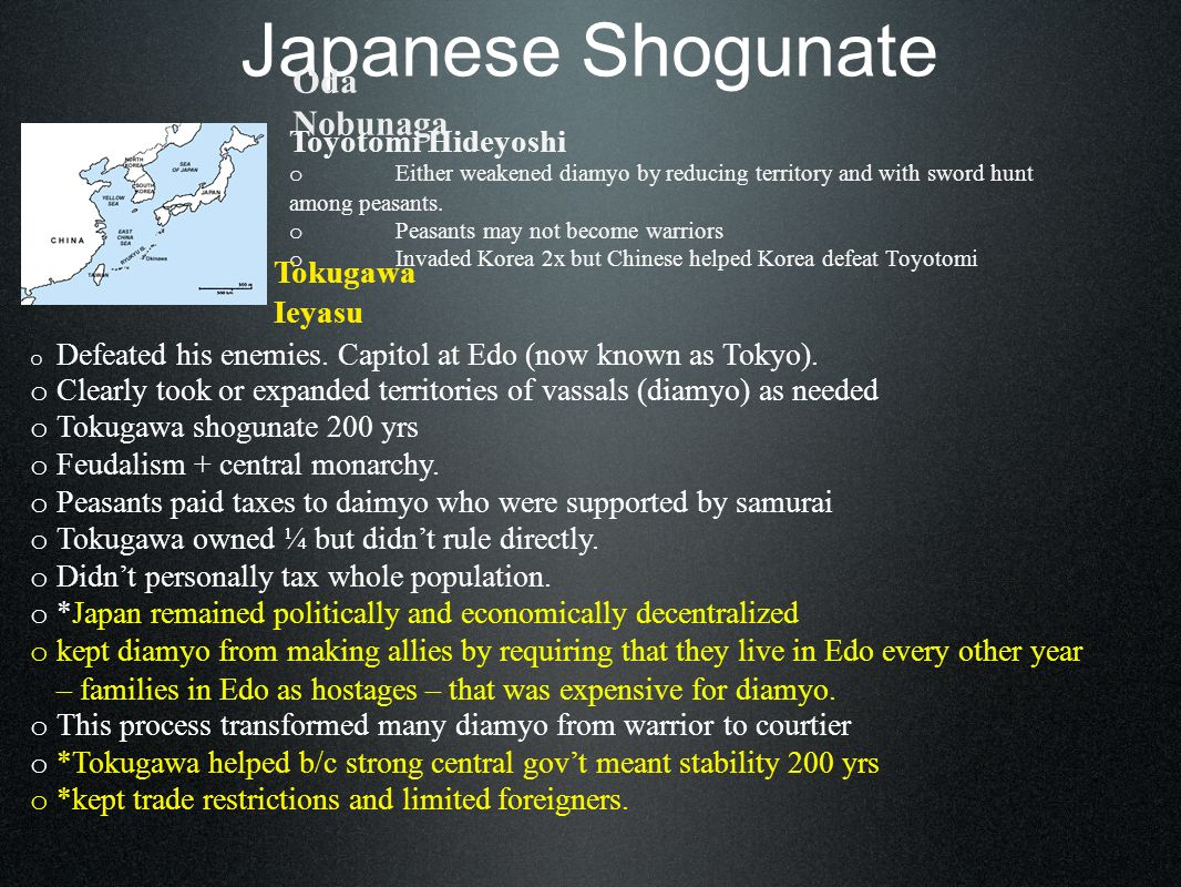 Japanese Shogunate Foreign Control o mid 1500s Portuguese in Japan.