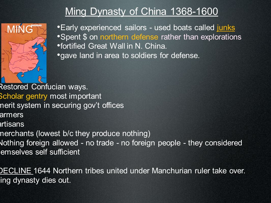 Qing Dynasty of China 1644-1850 Qing Kept Chinese culture and society - including Confucianism Made native traditional Han Chinese wear queue (tail) to signify submission Traditional Manchu homeland only for Manchurian - no intermarry - keep own language Economy - grows, specialization in areas canals silk road merchants become more important Society literature flourished.