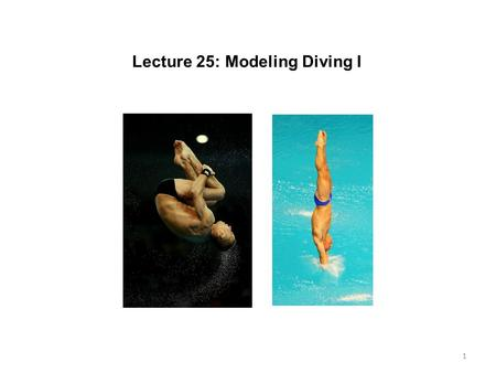 1 Lecture 25: Modeling Diving I. 2 What do we need to do? Figure out what and how to simplify Build a physical model that we can work with Once that is.