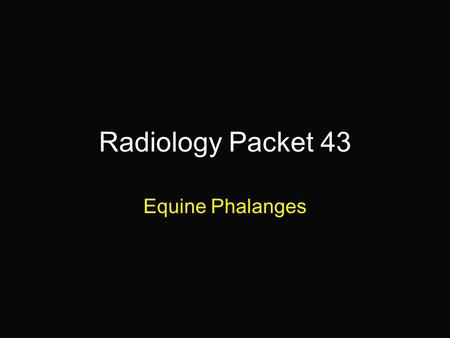 Radiology Packet 43 Equine Phalanges. 3 yr old STDB Gelding HX = presented for an acute onset of lameness in the left fore that occurred immediately after.