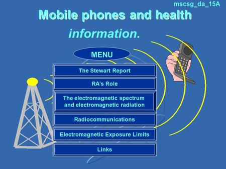 Mobile phones and health information. The Stewart Report RA's Role The electromagnetic spectrum and electromagnetic radiation Radiocommunications Electromagnetic.