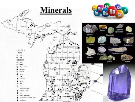Minerals. Definitions 1. Mineral: a naturally occurring, 1. Mineral: a naturally occurring,