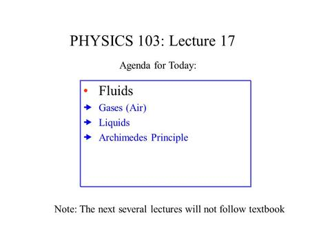 PHYSICS 103: Lecture 17 Fluids  Gases (Air)  Liquids  Archimedes Principle Agenda for Today: Note: The next several lectures will not follow textbook.