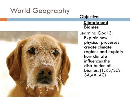 World Geography Objective: Climate and Biomes Learning Goal 3: Explain how physical processes create climate regions and explain how climate influences.