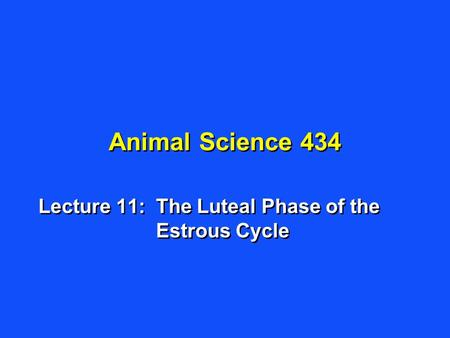 Animal Science 434 Lecture 11:The Luteal Phase of the Estrous Cycle.