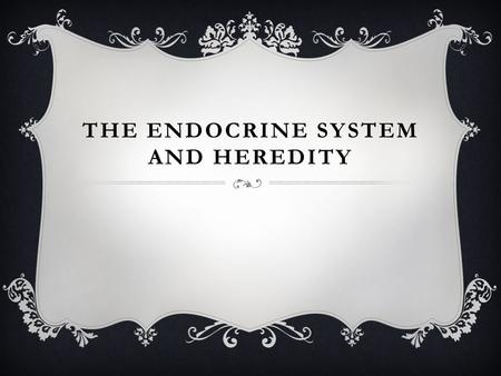 THE ENDOCRINE SYSTEM AND HEREDITY. ENDOCRINE SYSTEM  The endocrine system consists of glands that secrete substances called hormones into the blood stream.