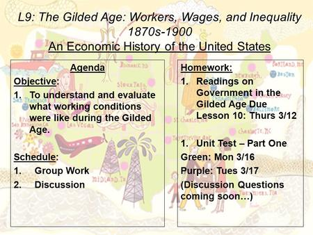 L9: The Gilded Age: Workers, Wages, and Inequality 1870s-1900 An Economic History of the United States Agenda Objective: 1.To understand and evaluate what.