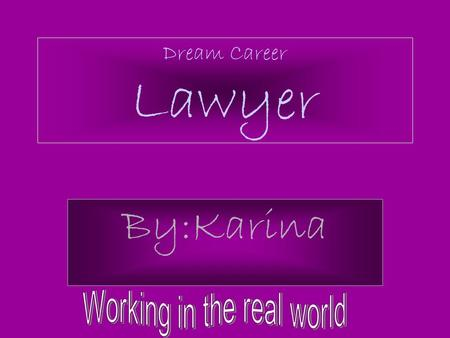 Dream Career Lawyer By:Karina. What they do We do criminal and civil lawsuits, to prepare legal documents, advises clients on legal rights, and practice.