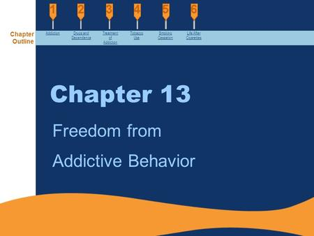 Chapter 13 Freedom from Addictive Behavior AddictionDrugs and Dependence Treatment of Addiction Tobacco Use Smoking Cessation Life After Cigarettes Chapter.