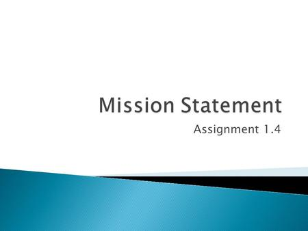 Assignment on mission statement