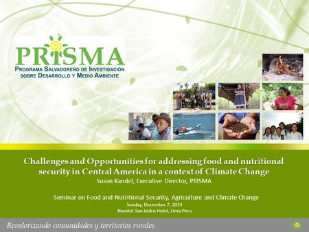 Challenges and Opportunities for addressing food and nutritional security in Central America in a context of Climate Change Susan Kandel, Executive Director,