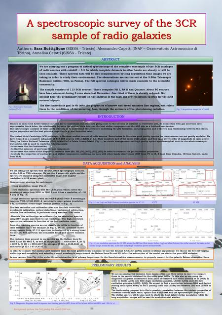 A spectroscopic survey of the 3CR sample of radio galaxies Authors: Sara Buttiglione (SISSA - Trieste), Alessandro Capetti (INAF – Osservatorio Astronomico.