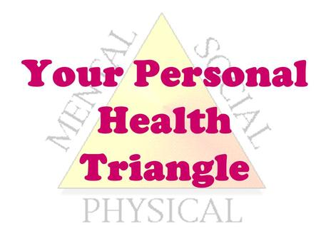Your Personal Health Triangle. Label your paper: My Health Triangle Physical Health 1. 2. 3. 4. 5. 6.