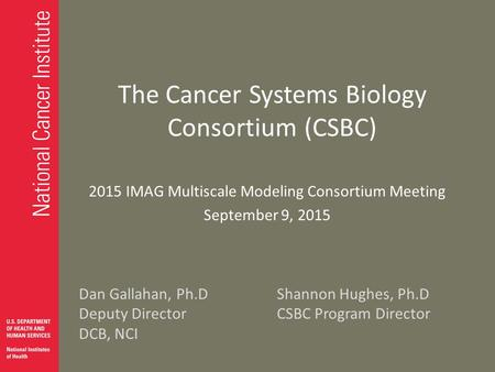 The Cancer Systems Biology Consortium (CSBC) 2015 IMAG Multiscale Modeling Consortium Meeting September 9, 2015 Dan Gallahan, Ph.DShannon Hughes, Ph.D.