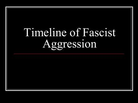 Timeline of Fascist Aggression