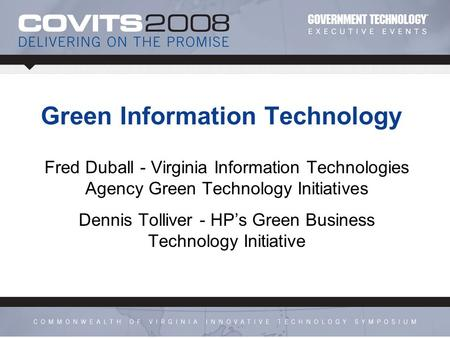 Virginia Information Technologies Agency Green Technology Initiatives