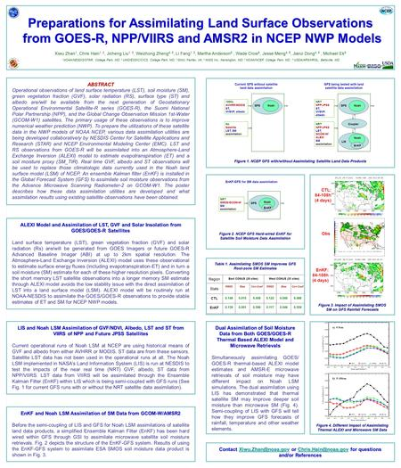 Preparations for Assimilating Land Surface Observations from GOES-R, NPP/VIIRS and AMSR2 in NCEP NWP Models from GOES-R, NPP/VIIRS and AMSR2 in NCEP NWP.
