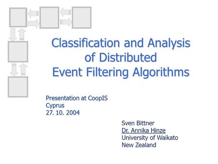 Classification and Analysis of Distributed Event Filtering Algorithms Sven Bittner Dr. Annika Hinze University of Waikato New Zealand Presentation at CoopIS.