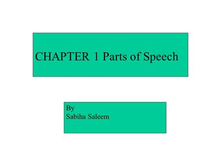 "CHAPTER 1 Parts of Speech By Sabiha Saleem PARTS OF SPEECH The 8 ""building blocks"" of the English language… The 8 ""building blocks"" of the English language…"