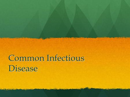 Common Infectious Disease. Health Stats 1900 1900 1) Pneumonia 1) Pneumonia 2) Tuberculosis 2) Tuberculosis 3) Infectious Diarrhea 3) Infectious Diarrhea.