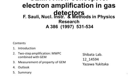 GEM: A new concept for electron amplification in gas detectors Contents 1.Introduction 2.Two-step amplification: MWPC combined with GEM 3.Measurement of.
