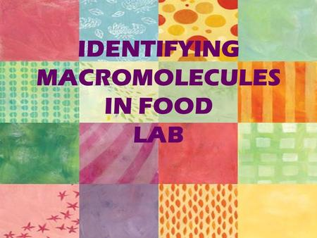 identification of macromolecules in food lab Identifying macromolecules in food lab adapted from: madison southern high school biology.