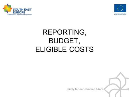 REPORTING, BUDGET, ELIGIBLE COSTS. Main steps of the financial management of the project.