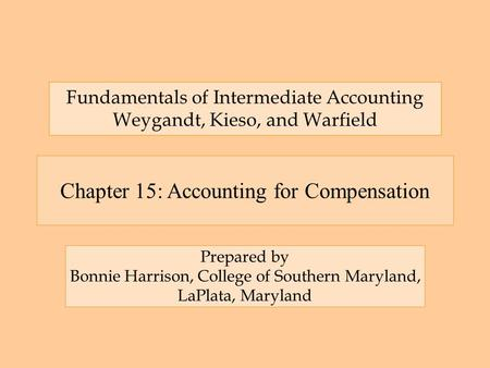 Chapter 15: Accounting for Compensation