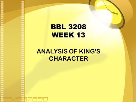 BBL 3208 WEEK 13 ANALYSIS OF KING'S CHARACTER. Henry (King Henry IV of England, formerly known as Bullingbrook): He is the king of England, the father.