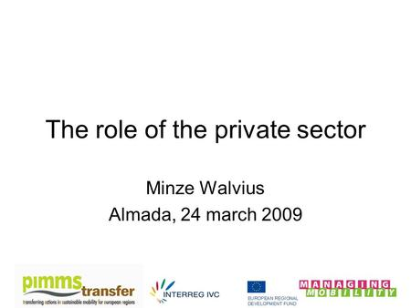 The role of the private sector Minze Walvius Almada, 24 march 2009.