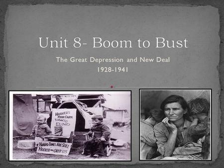 The Great Depression and New Deal 1928-1941. The 1920's were a time of superficial prosperity Businesses were doing well Wages were increasing People.