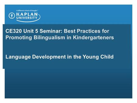 CE320 Unit 5 Seminar: Best Practices for Promoting Bilingualism in Kindergarteners Language Development in the Young Child.