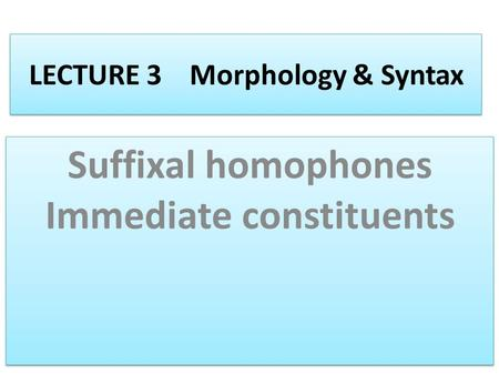 LECTURE 3 Morphology & Syntax