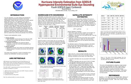 Hurricane Intensity Estimation from GOES-R Hyperspectral Environmental Suite Eye Sounding Fourth GOES-R Users' Conference Mark DeMaria NESDIS/ORA-STAR,