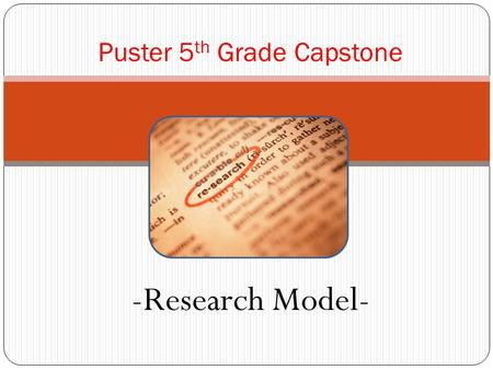 -Research Model- Puster 5 th Grade Capstone. Plan What is my research topic or problem? What do I already know? What questions do I have? What resources.