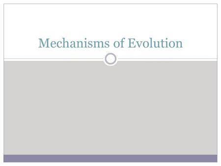 Mechanisms of Evolution. Hardy-Weinberg Principle A. A population is in genetic equilibrium—all individuals are equally adapted to their environment &
