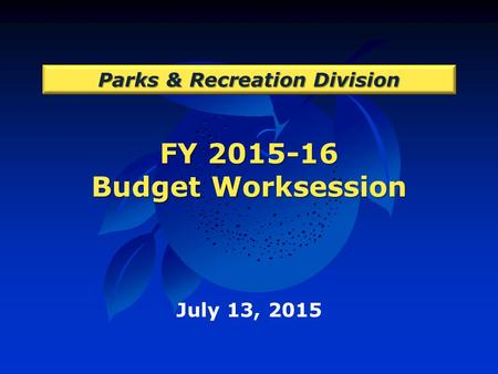 FY 2015-16 Budget Worksession Parks & Recreation Division July 13, 2015.
