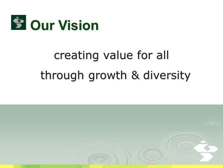 Creating value for all through growth & diversity through growth & diversity Our Vision.