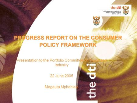 PROGRESS REPORT ON THE CONSUMER POLICY FRAMEWORK Presentation to the Portfolio Committee on Trade and Industry 22 June 2005 Magauta Mphahlele.