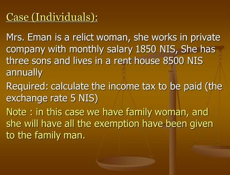Case (Individuals): Mrs. Eman is a relict woman, she works in private company with monthly salary 1850 NIS, She has three sons and lives in a rent house.